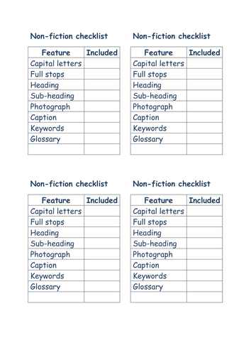 Editable non-fiction checklist