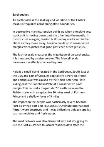 Haiti Earthquake info sheet