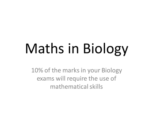 AQA A Level Biology Maths Skills