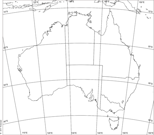 Map of Australia with latitude longitude grid by swintrek - Teaching ...