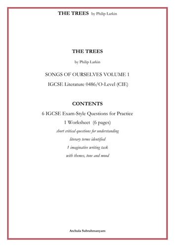 THE TREES by Philip Larkin_6 IGCSE Exam-Style Questions for Practice_1 Worksheet  (6 pages)