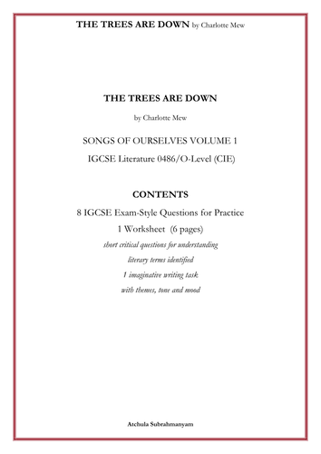 THE TREES ARE DOWN by Charlotte Mew_8 IGCSE Exam-Style Questions for Practice_1 Worksheet  (6 pages)