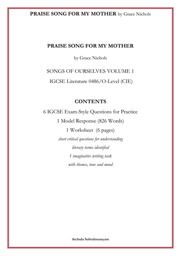 PRAISE SONG FOR MY MOTHER by Grace Nichols_6 IGCSE Exam-Style Questions_1 Model Response_1 Worksheet