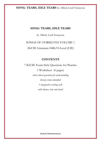 SONG: TEARS, IDLE TEARS by Alfred, Lord Tennyson_7 IGCSE Exam-Style Questions _1 Worksheet