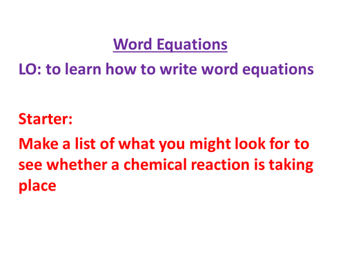 KS3 - Word Equations with Differentiated Sheets