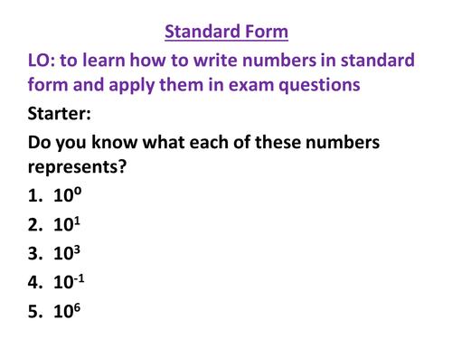 standard form science  AQA Science New Spec - Standard Form (Maths Skills)
