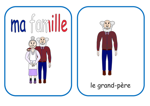 French Family Flash Cards and worksheet KS1/2