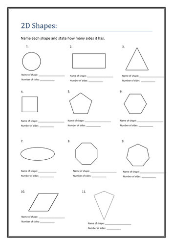 2D Shapes - Name and Sides