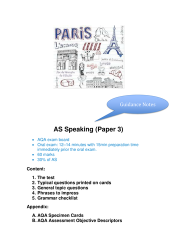 AS Speaking Questions and Guidance (French)