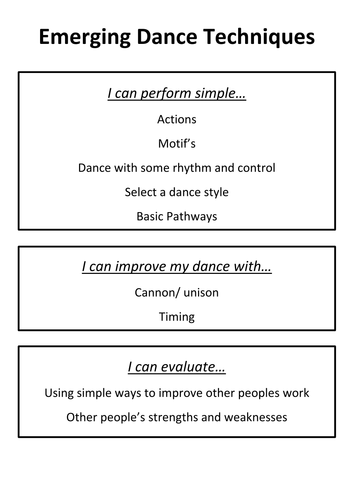 Assessment without Levels- Dance skills cards