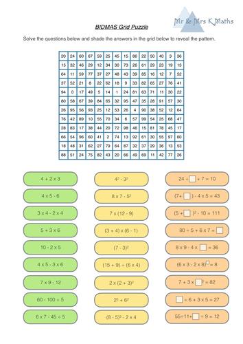 BIDMAS grid puzzle - SELF MARKING