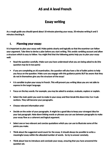 writing an essay student guide as and a level french by writing an essay student guide as and a level french by laprofdefrancais teaching resources tes