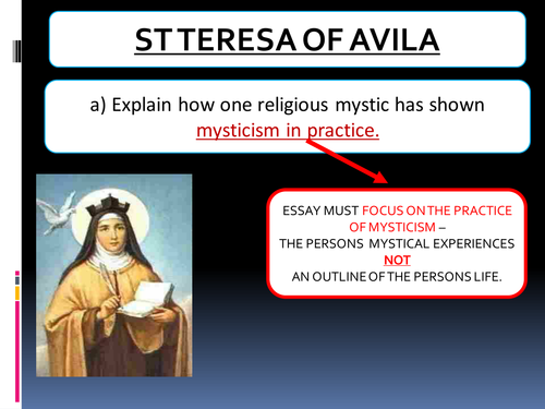 St Teresa mysticism and stages of prayer.