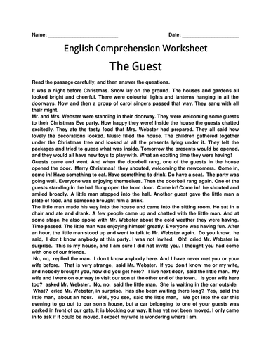 English Comprehension Worksheet- 'The Guest' with Answer Key