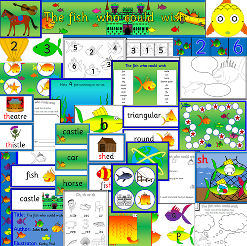 The Fish who could Wish story sack resources