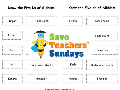 Five Ks of Sikhism Lesson plan, Cards for game, Online Activities &  Worksheets
