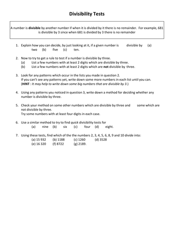 Divisibility Tests Introduction and Extension Sheet
