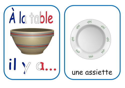 At the Table French Vocab Flash Cards & Worksheets KS1/2