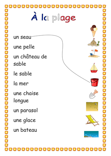 At the Beach French Flash Cards and worksheets KS1/2