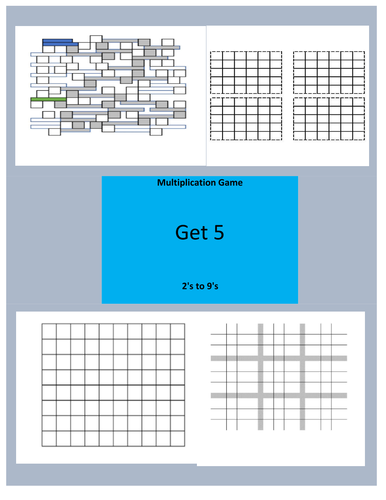 Multiplication Single Digit Get 5 Game