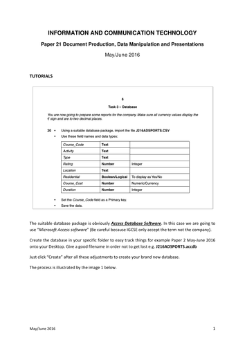 Tutorial ICT Paper 21 -May-June 2016