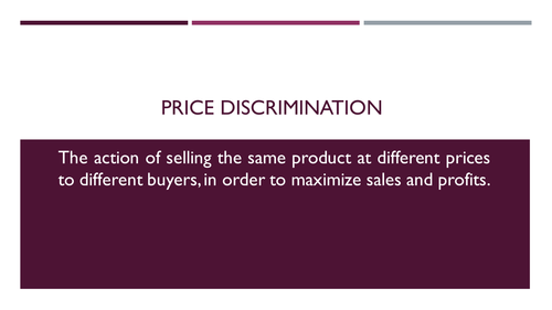 Price discrimination for A level Economics