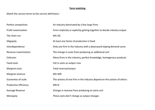 Term matching for Theory of the firm (A level economics)