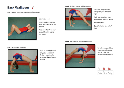 Gymnastics Back Walkover Task Card (Differentiated Progressions)