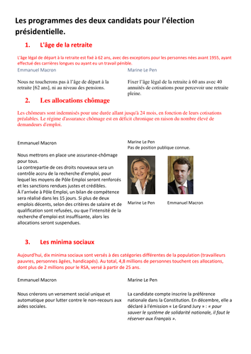french essay phrases by sabian ier teaching resources tes french presidential election comparison of electoral promises