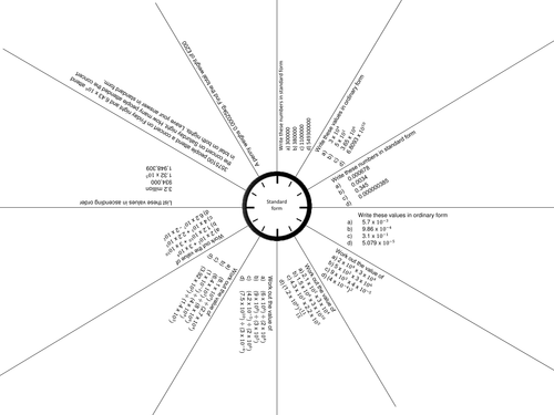 GCSE Foundation revision clock and mat Fractions and percentages – Clock Fractions Worksheet