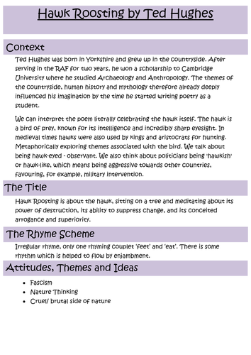Hawk Roosting Revision Notes