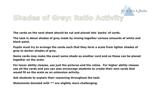 RATIO Shades of Grey Card Sort Activity