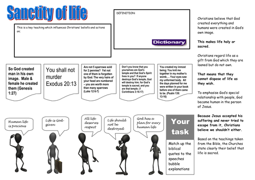 Pupil worksheet on the sanctity of life introduction lesson