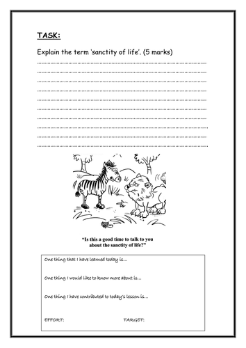 Sanctity of life info work sheet to add to the initial ...