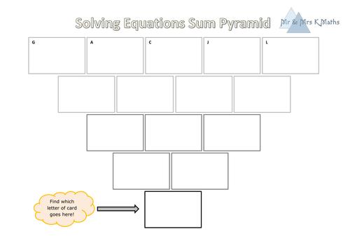 Solving Equations Sum Pyramid activity (SELF MARKING)