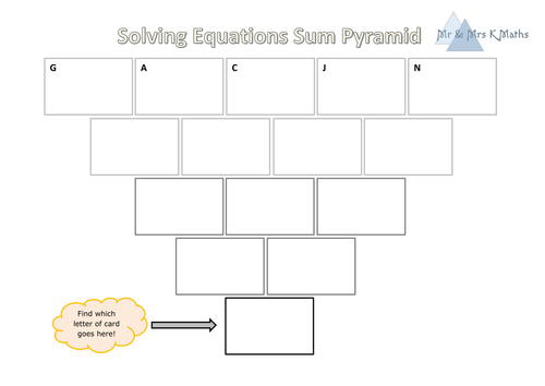 Solving Equations Sum Pyramid (unknowns on both sides) SELF MARKING