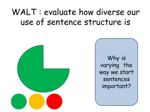 Sentence Structure : Analysing sentences using numeracy / maths