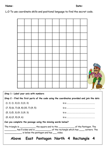 Coordinates, position and direction. PIRATES KS1 by holt