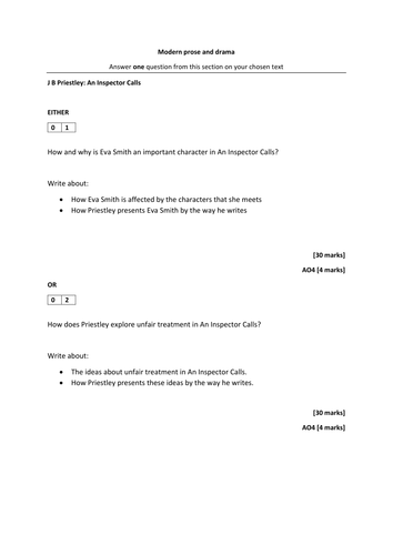 an inspector calls exam revision aqa new specification  an inspector calls exam revision aqa new specification 9 1 sample assessment materials perfect for revision by lukecrawford teaching resources tes
