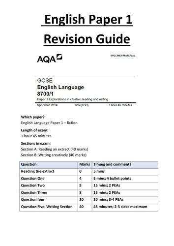gcse english language paper help A booklet of practice texts, reading questions and writing tasks to help students studying for the new aqa english language gcse paper 1: explorations in creative reading and writing (first exam summer 2017.