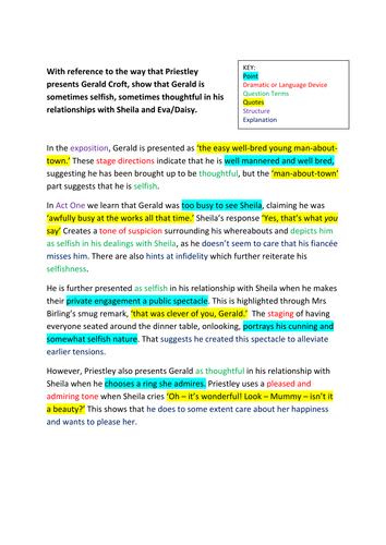 An Inspector Calls Sample Paragraphs