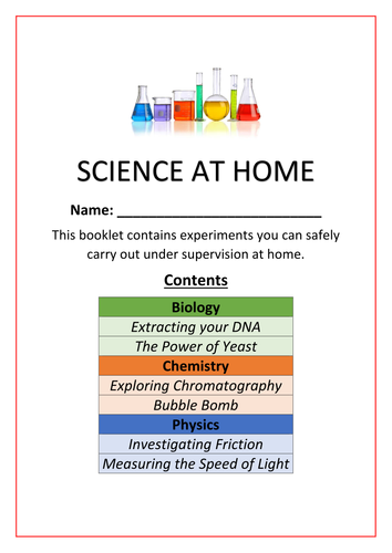Science at home: Experiments booklet