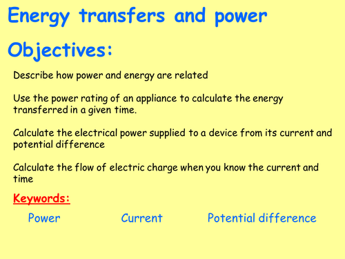 New AQA P2.8 (New Physics GCSE spec 4.2 - exams 2018) - Power and energy transfers in appliances