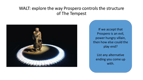 The Tempest : Shakespeare : How Prospero controls the narrative and structure