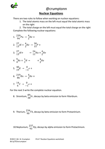 Gcse Physics Nuclear Equations Worksheet By Ncrumpton