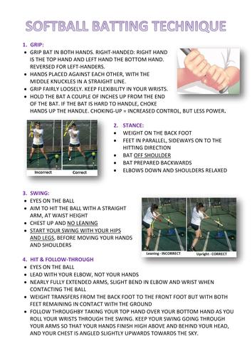 Softball Batting Peer Assessment Task Card