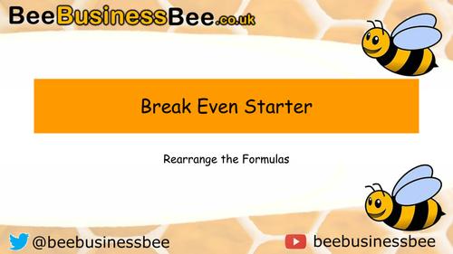 Break Even Rearrange Formula Starter