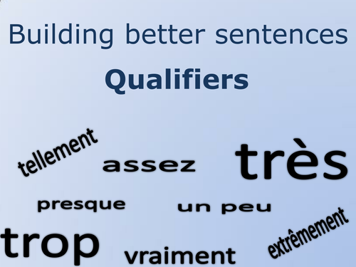 Building Better Sentences – French qualifier flashcards and support sheets.