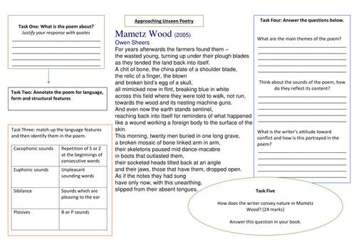AQA Unseen Poetry Worksheet
