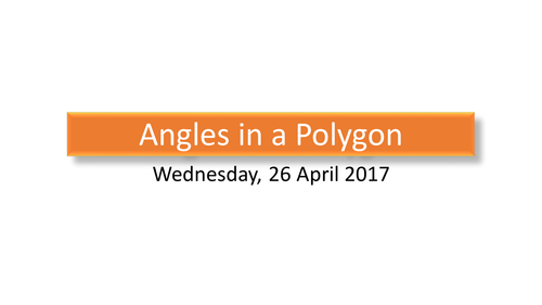 Angles in a polygon